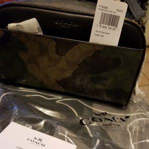 Coach Mahogany/Dark Green Unisex Camo Travel Kit
